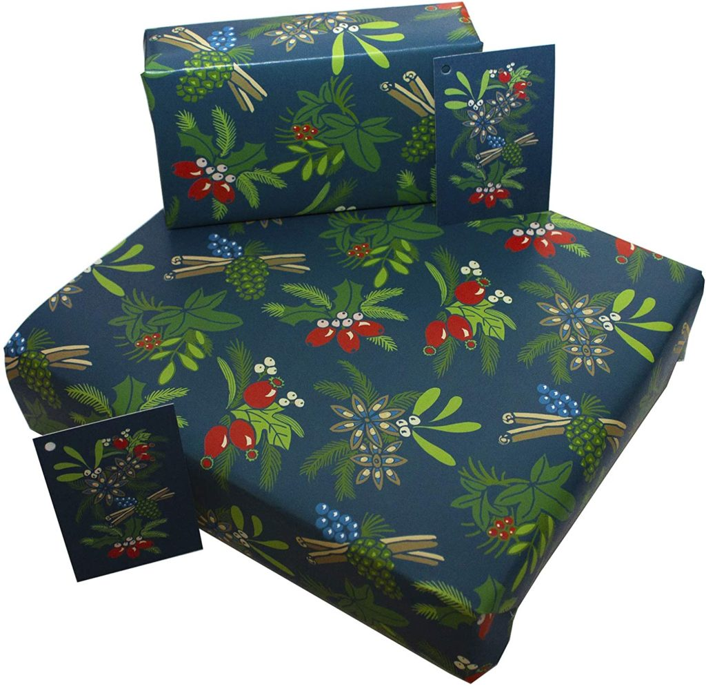 3 Sheets of 100gsm 100% Recycled Eco Friendly Xmas Gift Wrap Wrapping Paper with Tags by Re-wrapped - Christmas Blue Cinamon & Berries