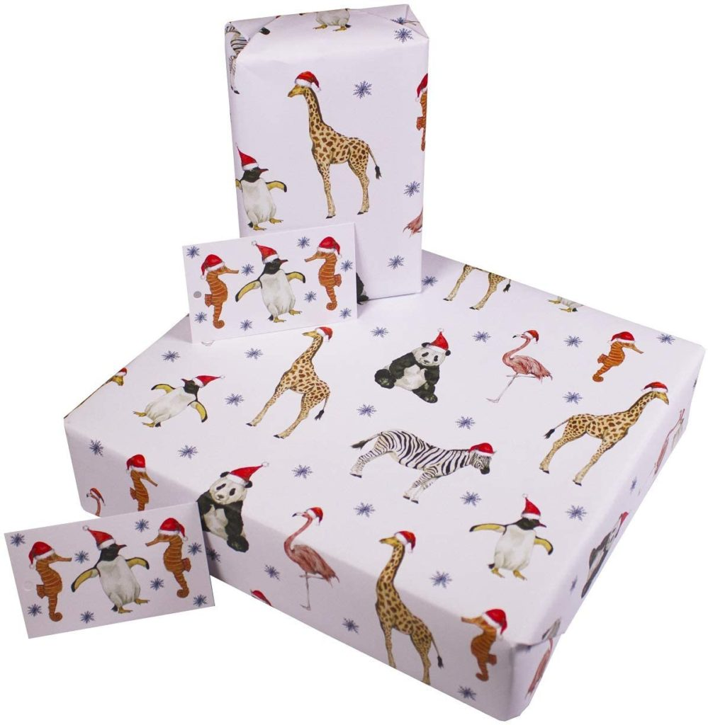 3 Sheets of 100gsm 100% Recycled Eco Friendly Xmas Gift Wrap Wrapping Paper with Tags by Re-wrapped - White Christmas Party Animals