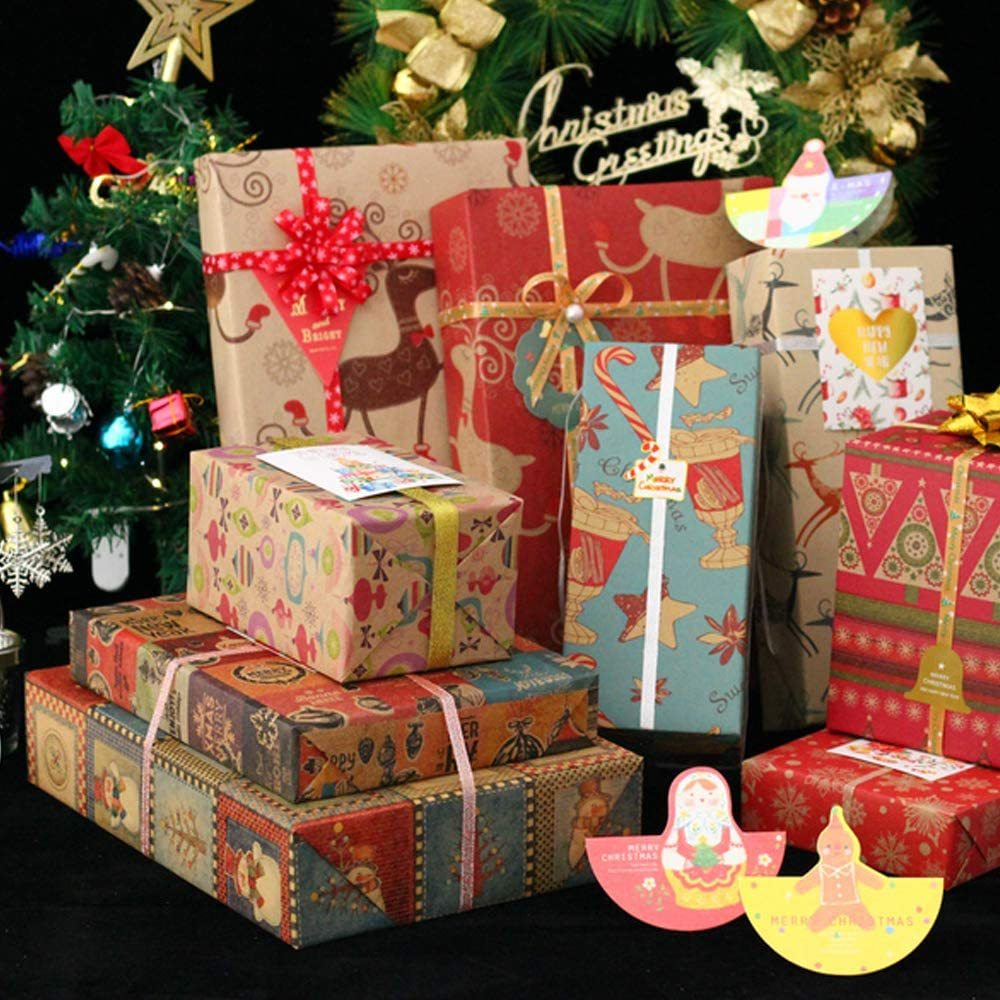 Christmas Gift Wrapping Paper 12 Pack, Recyclable Kraft Paper