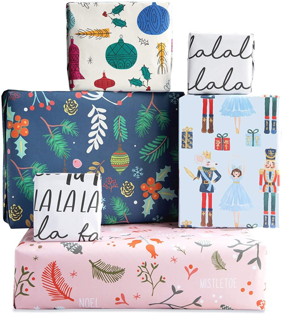 Christmas Wrapping Paper Multipack (6) x Sheets 100% Recyclable Paper by The Doodle Factory