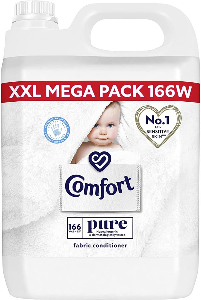 Comfort Dermatologically tested Pure suitable for the whole family's clothes Fabric Conditioner gentle next to sensitive skin 166 Wash 5 l