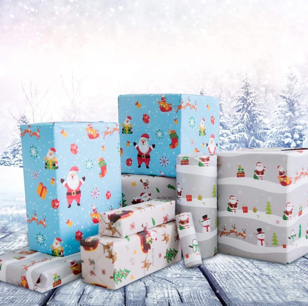 Eco Friendly Recyclable Christmas Wrapping Paper, 6 Extra Large Sheets Designed and Printed in The UK on Premium Quality Paper