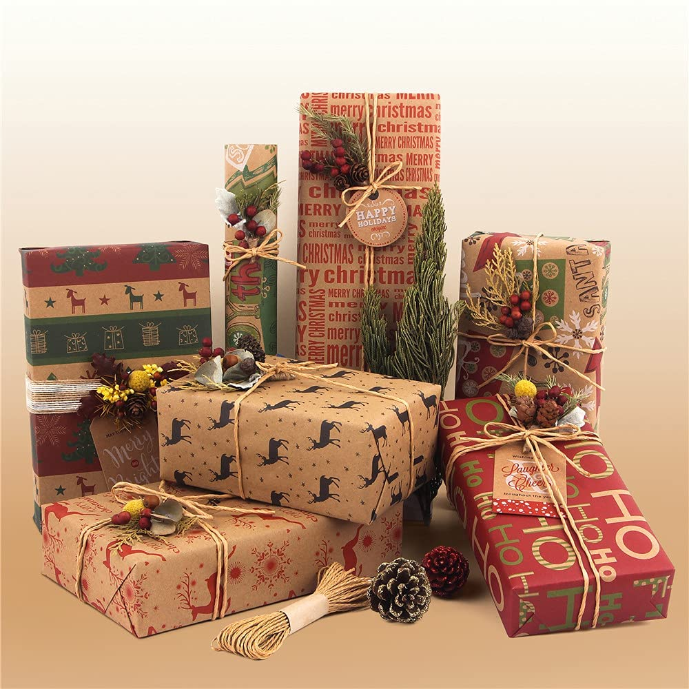 Fahtive Wrapping Paper 6 Sheets Set Recyclable Gift Kraft Wrap Papers with Gift Tags Strings Present Christmas Xmas Tree Elk for Women Men Female Girl Boy 50cmx70cm