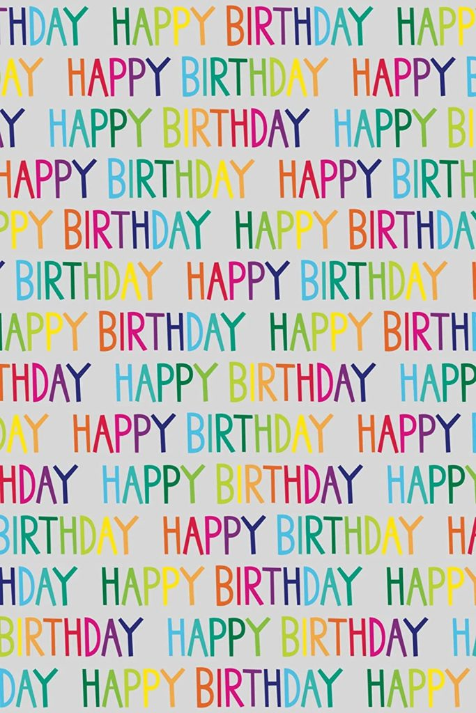 Recycled and Recyclable Happy Birthday Wrapping Paper. 5 XL eco Friendly Sheets. Made in The UK. Packaged in compostable Materials
