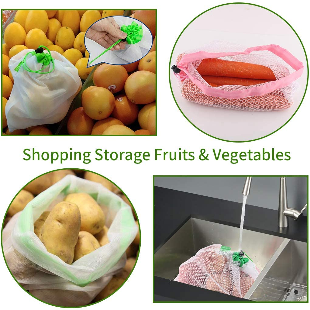 Reusable Produce Bags - Washable Mesh Friendly See Through with Drawstring Vegetable Bags