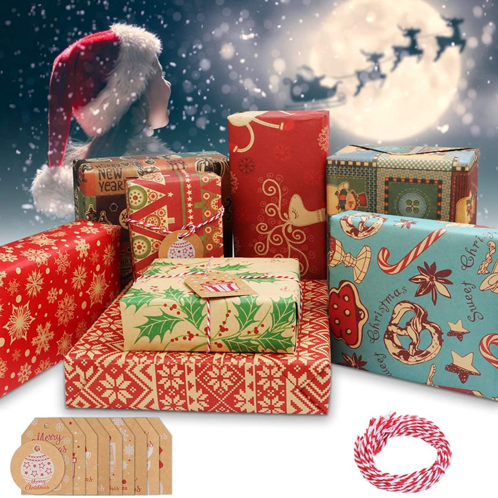 Telgoner Wrapping Paper Christmas, 10 Pcs Recycled Xmas Wrapping Paper Sheets 70x50CM, 8 Kinds of Kraft Gift Wrap Papers Set, Included 10 Pieces of Xmas Cards Tags & 5 Meters of Red Cotton Thread