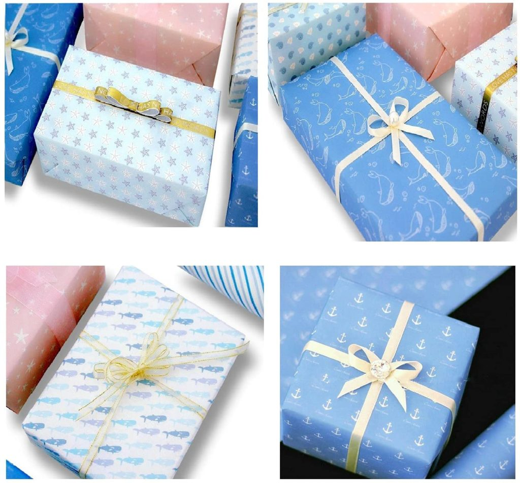 kuou 10 x Sea Animals Gift Wrapping Paper, 70cm x 50cm Recyclable Birthday Wrap Paper Eco Friendly Gift Wrap Paper for Women, Men, Kids, Girl, Boy